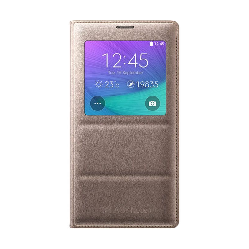 Samsung S-View Flip Cover Gold Casing Original for Galaxy Note 4