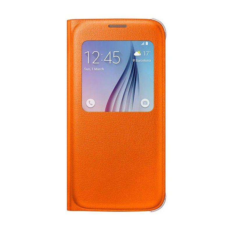 Samsung S View Flip Cover Orange Casing for Samsung Galaxy S6 [Original]