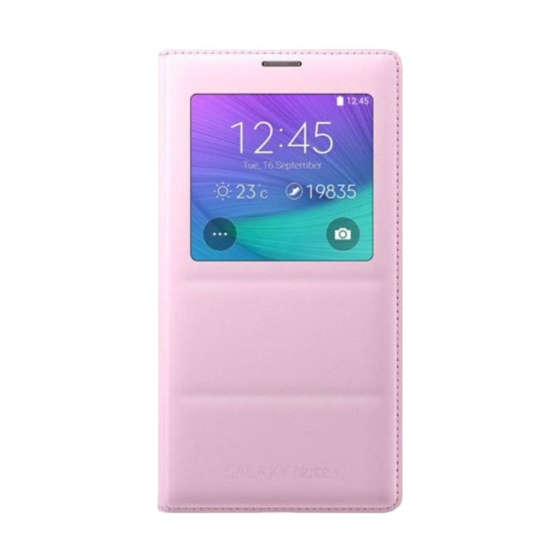 Samsung Original S-View Flip Cover Pink Casing for Galaxy Note 4