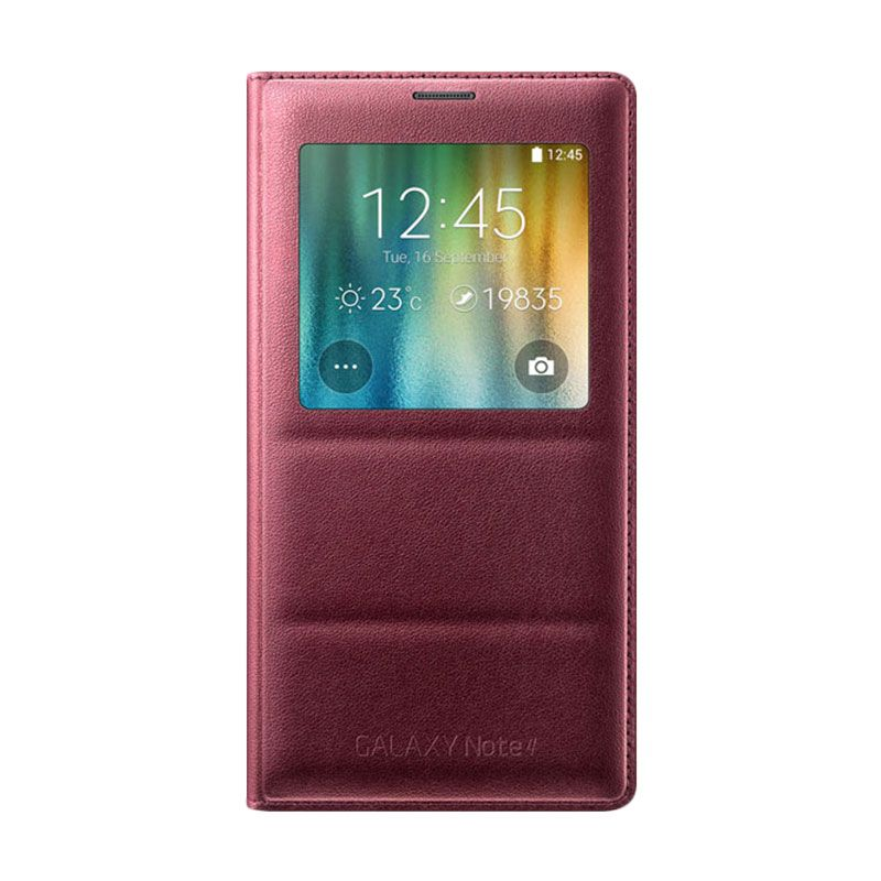 Samsung S-View Flip Cover Casing Original for Galaxy Note 4 - Red