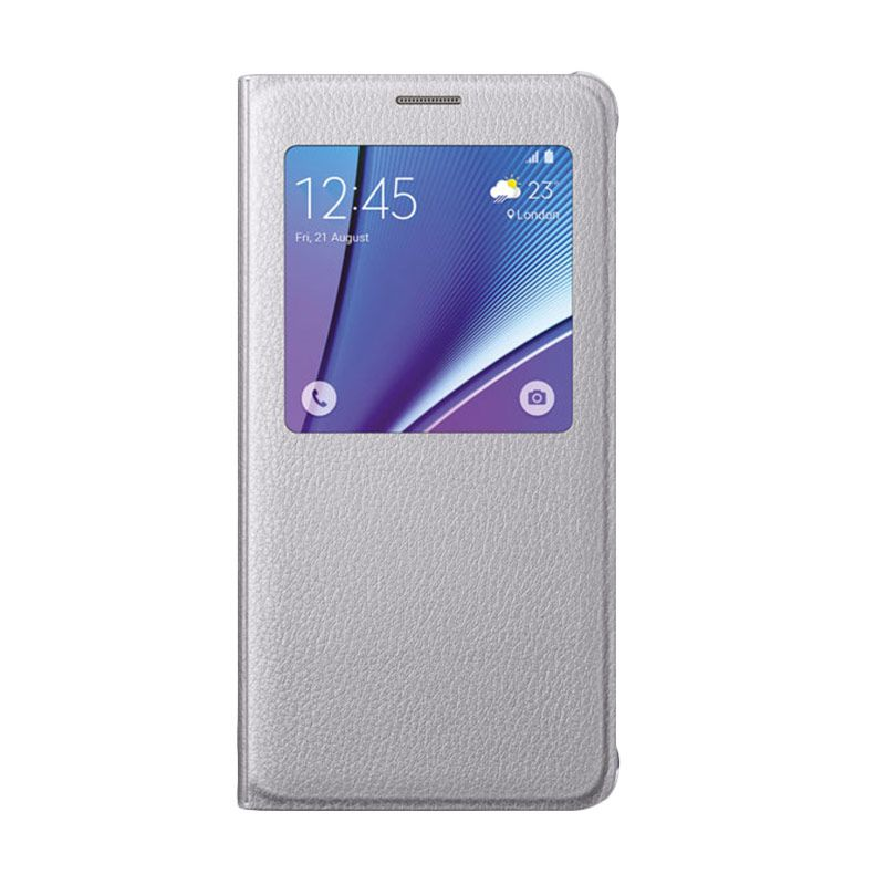 Samsung S View Flip Cover Silver Casing for Samsung Galaxy Note 5