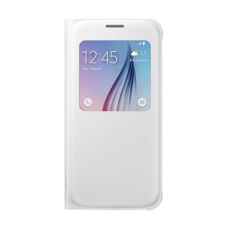 Samsung S View Flip Cover White Casing for Samsung Galaxy S6 [Original]