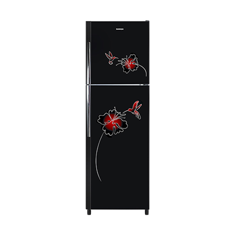 Sanken SK-G255-BK Refrigerator - Diamond Glass Door Black [2 Door/250 L]