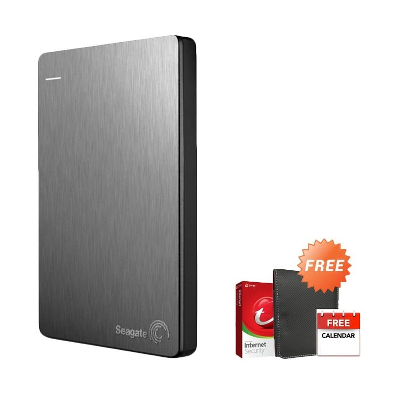 Seagate Backup Plus Slim  Silver Hard Disk [1 TB] + New Pouch + Antivirus Trend Micro + Kalender