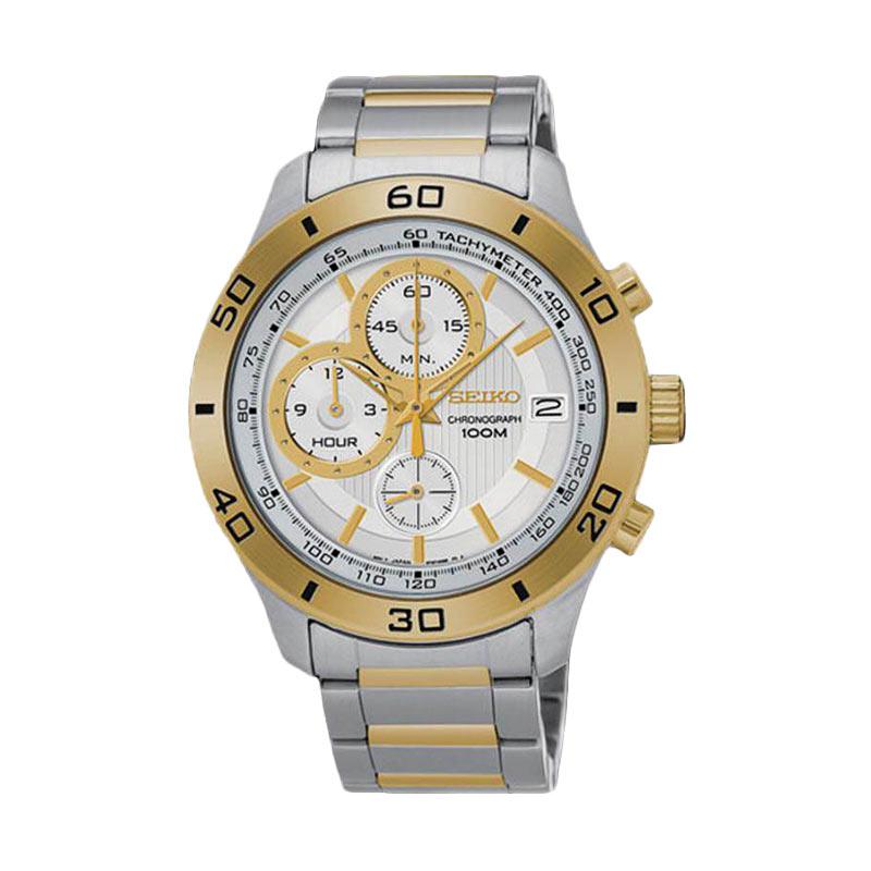 Jual Seiko Chronograph SSB188P1 Silver Gold Jam Tangan