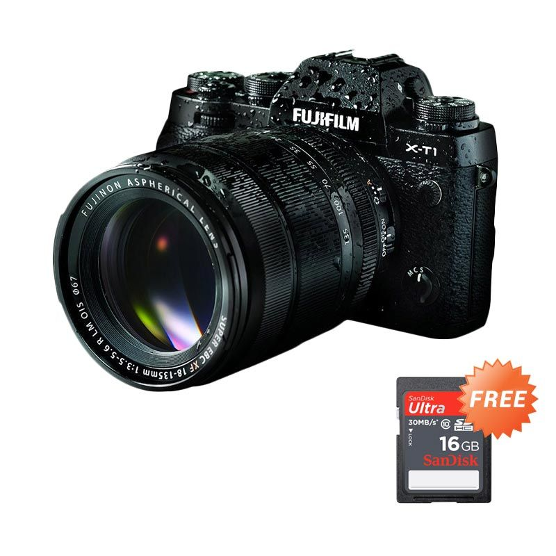 Fujifilm X-T1 Kit XF 18-135mm f/3.5-5.6 R LM OIS Kamera Mirrorless + Instax Share SP-2 + SDHC 16GB + Lensa 14mm F/2.8