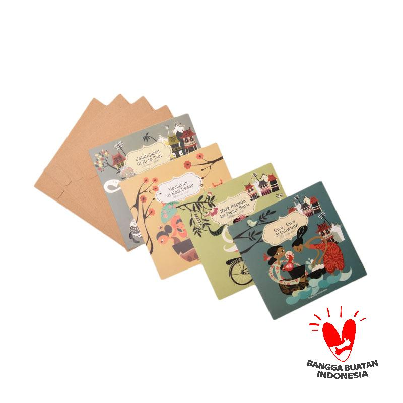 harga Sepiring Indonesia Blank Card Set (Cuci-Cuci di Ciliwung, Naik Sepeda ke Pasar Baru, Berlayar di Kali Besar, Jalan-Jalan di Kota Tua) Blibli.com