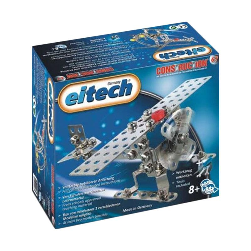 Eitech Metal Cons C67 Helicopter or Plane Silver Mainan Anak