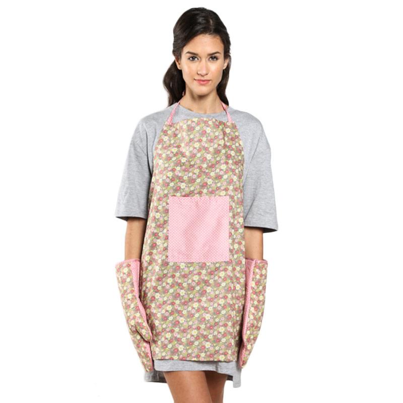 Shabby Chic Vector Floral Polkadot Apron dan Mitten Pink Set Perlengkapan Masak