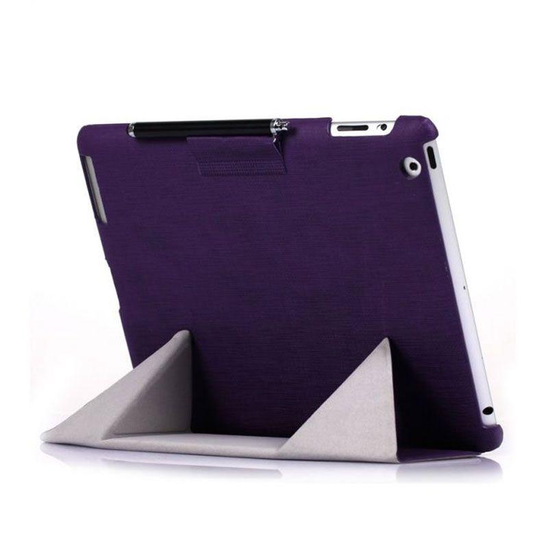 iPearl Magic Foldable Leather Ungu Casing for iPad New
