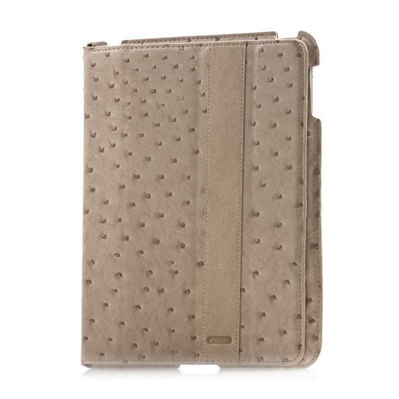 iPearl Ostrich Leather Coklat Casing for iPad New