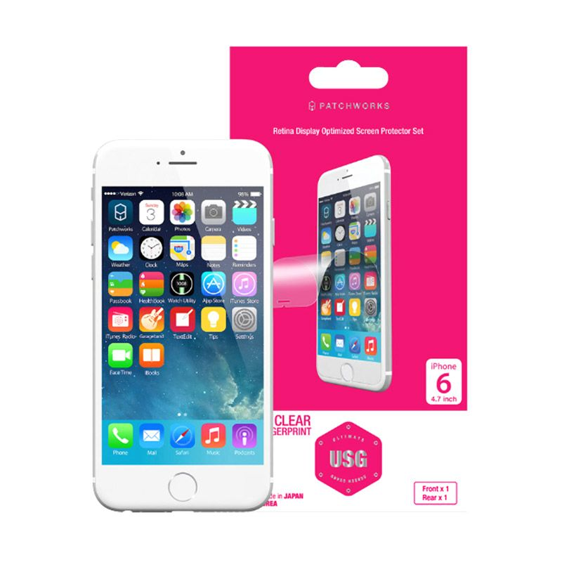 Patchworks USG Frontx1, Rearx1 Clear Screen Protector For iPhone 6