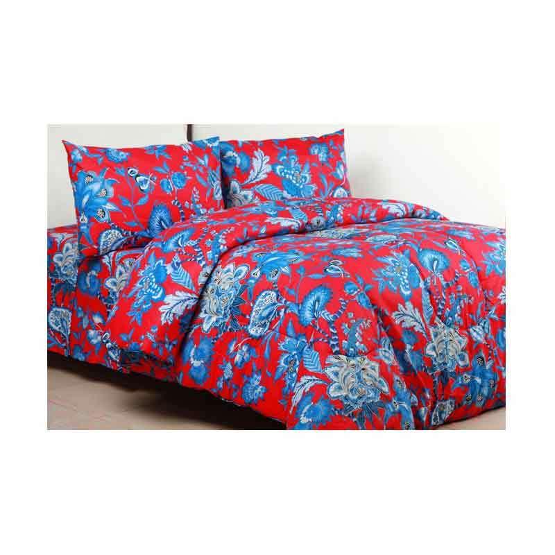 Sierra Bedcover dan Sprei Fiery Floral Merah x Biru