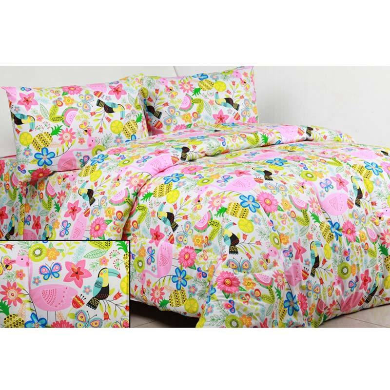 Sierra Flaminggo Multicolor Set Bedcover dan Sprei