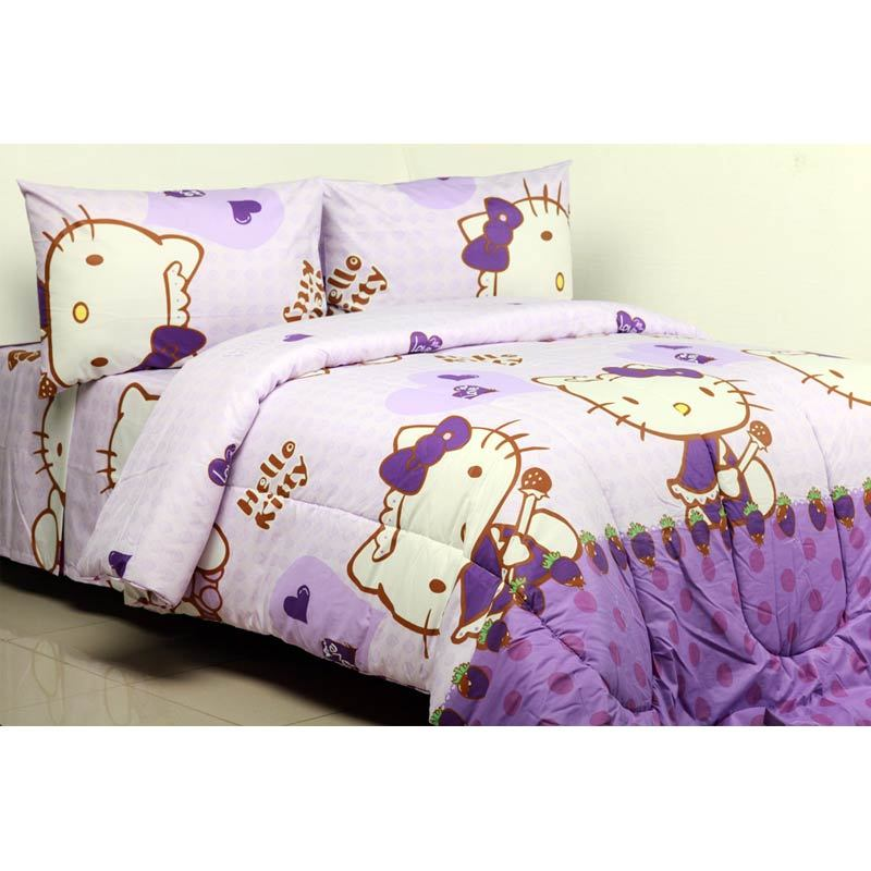 Sierra Kitty Strawberry Ungu Set Sprei dan Bedcover