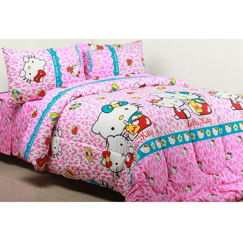 Sierra Kitty Tiger Pink Set Bedcover dan Sprei