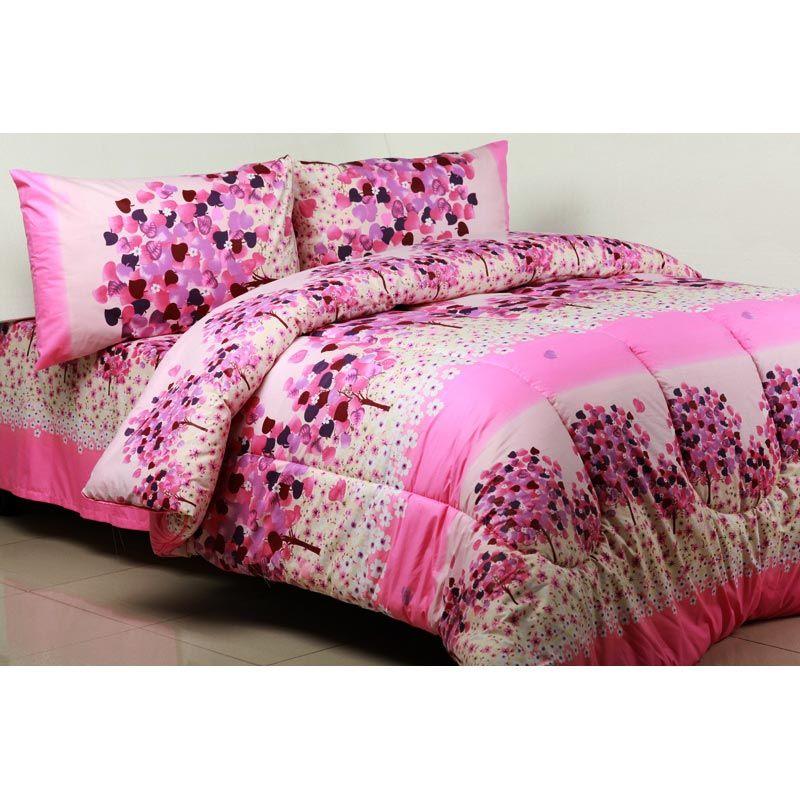 Sierra Winter Sonata Pink Set Bedcover dan Sprei