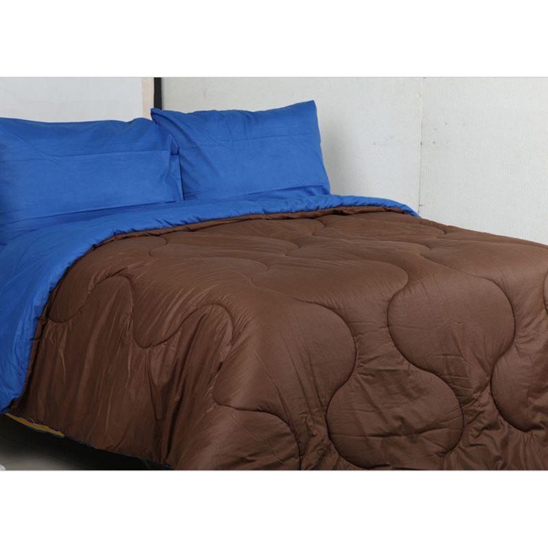 Sierra Polos Dark Blue x Coffee Bedcover dan Sprei