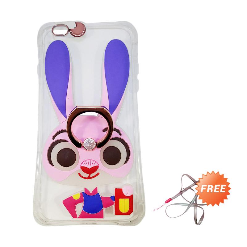 harga Silicon Kartun Karakter Zootopia 3D Iringstand Softcase Casing for iPhone 5G or 5S - Glow Pink + Free Gantungan Handphone Blibli.com