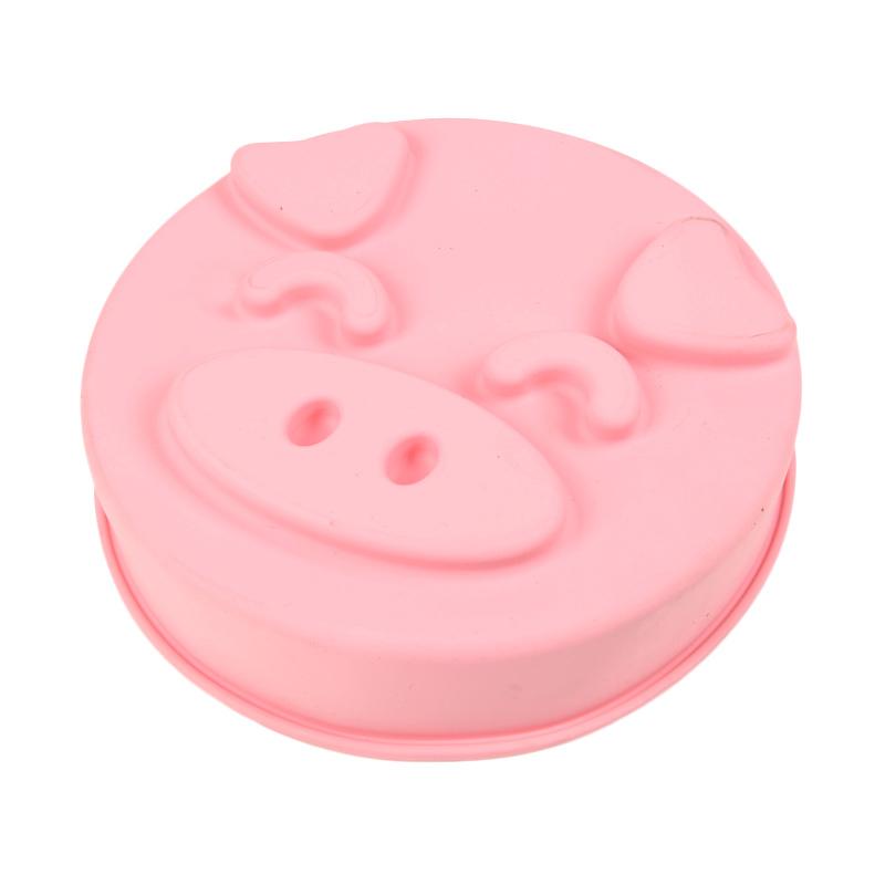 Siliconezone Piggy Round Cake Pan Merah Muda Loyang Kue [9 Inch]