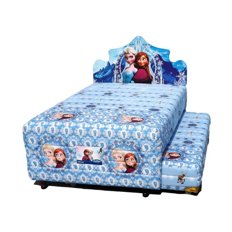 Bigland 2 in 1 Frozen Biru Set Spring Bed [120 x 200 cm]