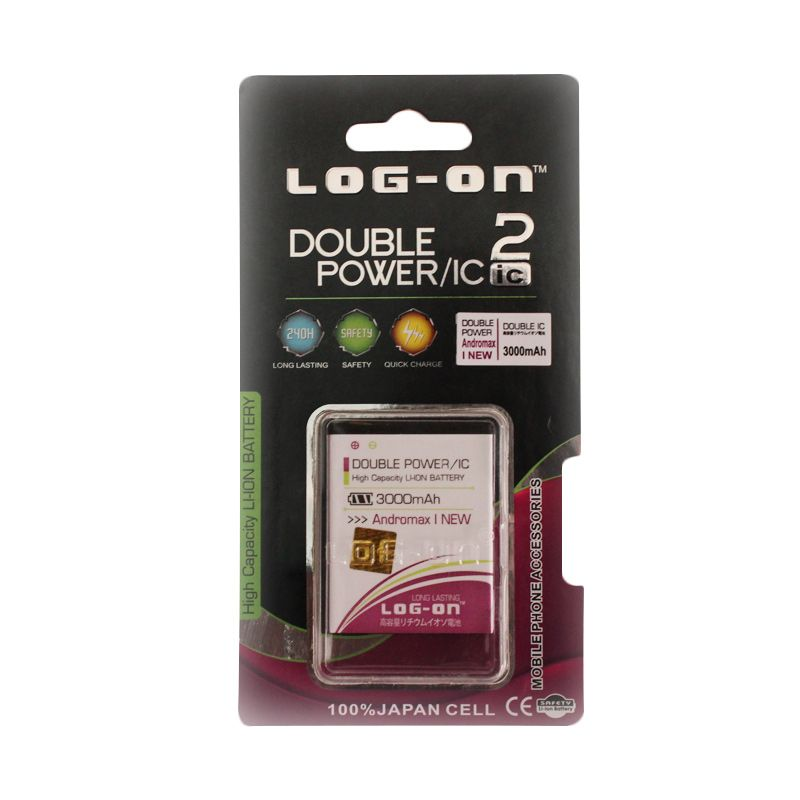 Log On Double Power Baterai for Andromax I New [3000 mAh]