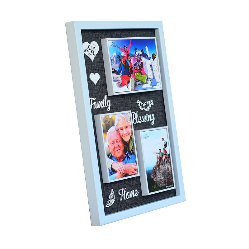 Neoframe Fiby 3D Thypography Family Blessing Home White Bingkai Foto [4R x 2 dan 5R]