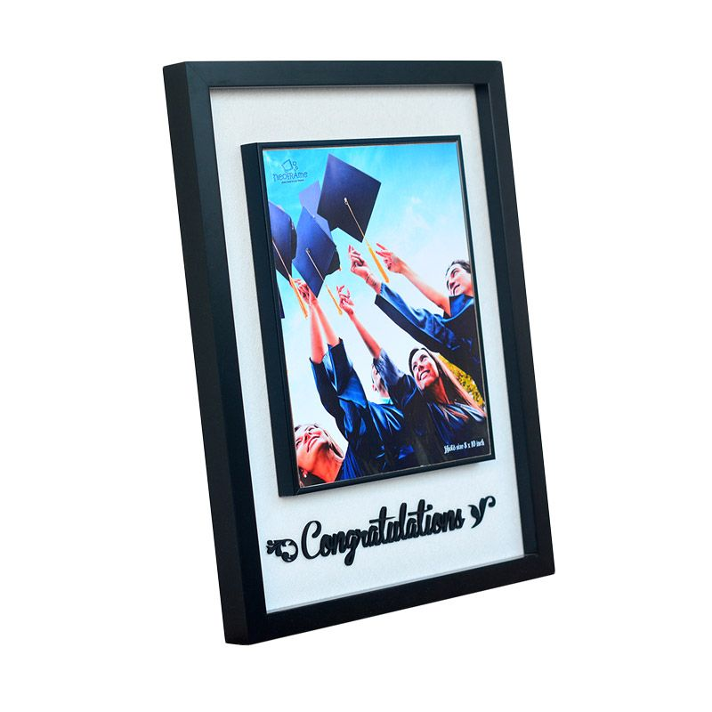 Neoframe Josh 3D Thypography Congratulations Black Bingkai Foto [10R]