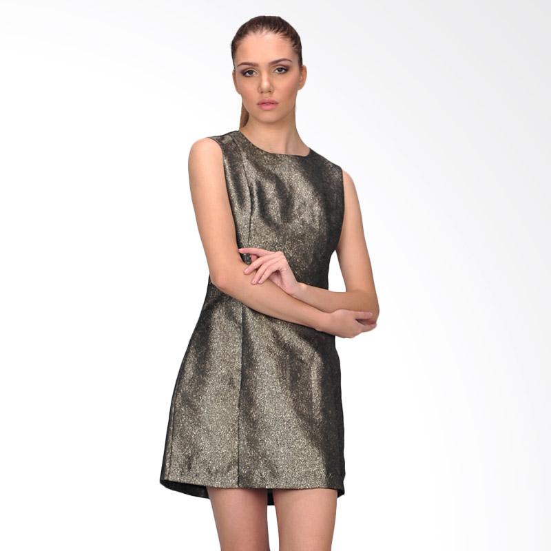 SJO & Simpaply Garnitif Women's Mini Dress Wanita - Black Gold