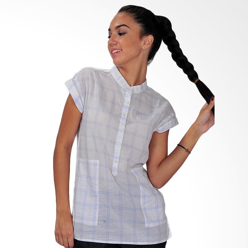 SJO's Svelto Camicia Check Atasan Wanita - White