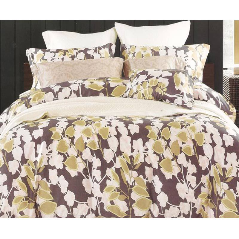 Sleep Buddy Cotton Sateen Brown Leaf Bed Sheet Set Sprei