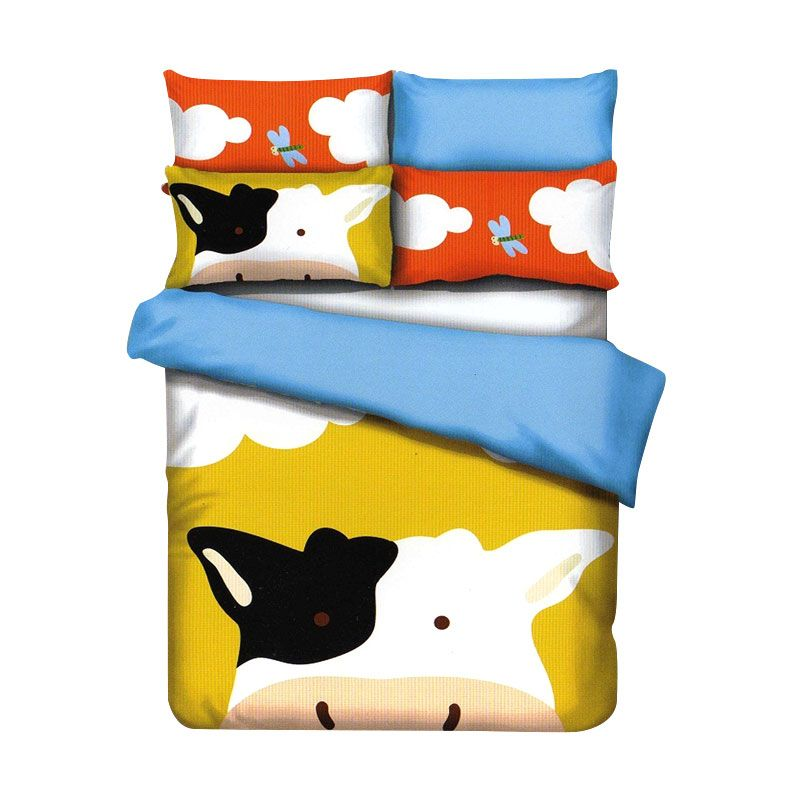 Sleep Buddy Cotton Sateen Cow Kids Yellow Sprei