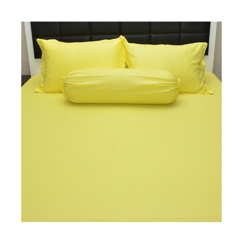 Sleep Buddy Extra King Size Bed Sheet Katun Plain Yellow