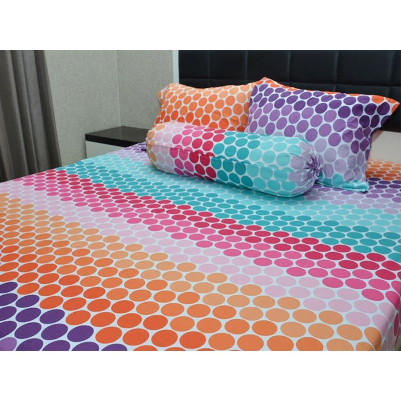 Sleep Buddy Rainbow Polkadot Blue Bed Sheet Set