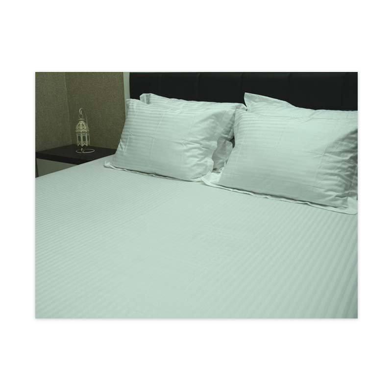 Sleep Buddy King Size Bed Sheet Small Line Damask White