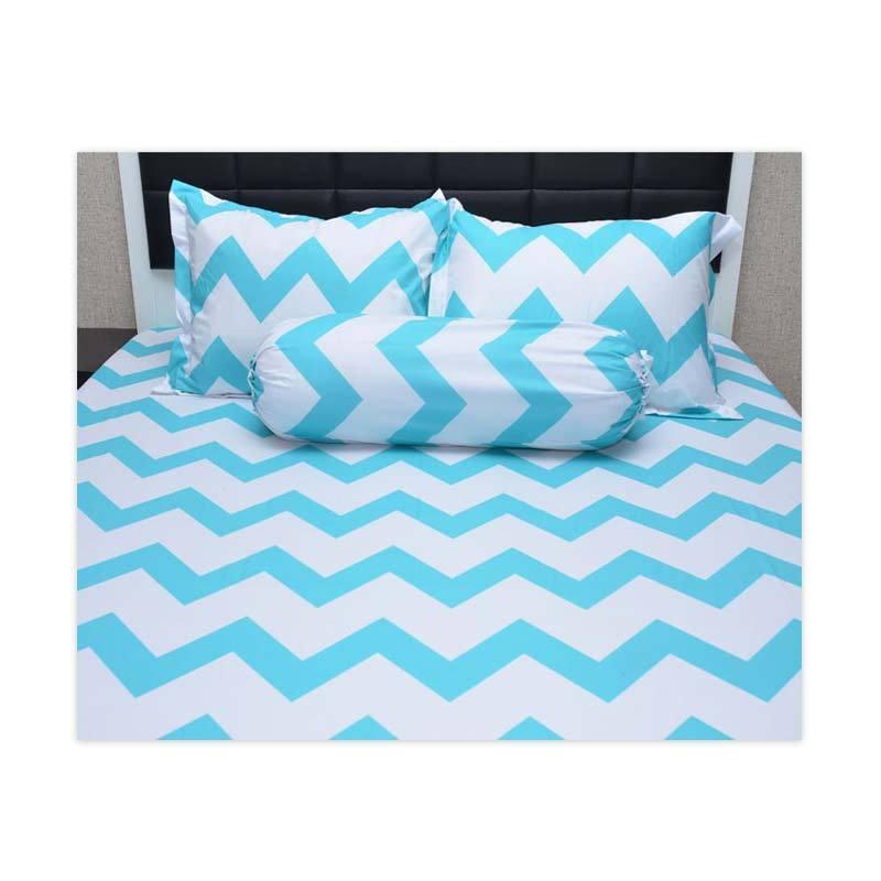 Sleep Buddy Queen Size Bed Sheet Katun Chevron Aqua