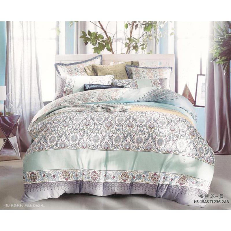 Sleep Buddy Sutra Tencel Flippy 2 Blue Grey Bed Sheet Set
