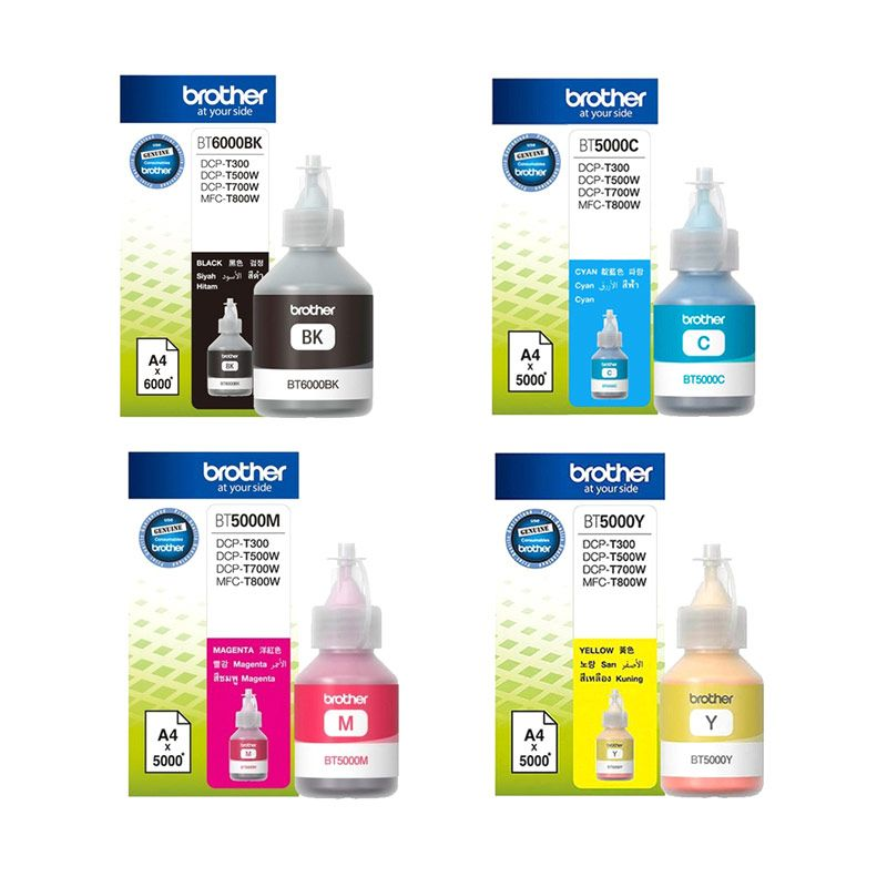 Brother Warna Lengkap Paket Tinta Printer BT6000BL dan BT5000Y/M/C