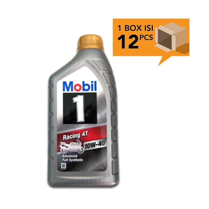 Paket Karton - Mobil 1 Racing 4T Advanced Full Synthetic 10W-40 Oli Pelumas [12 Pcs/ 1 L]
