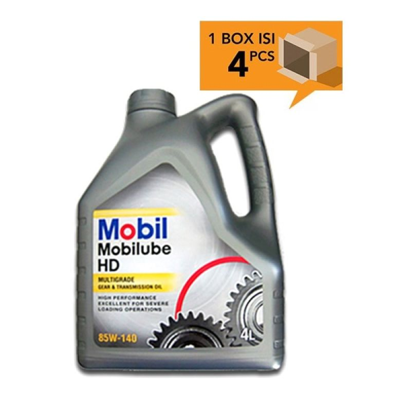 Paket Karton - Mobil Mobilube HD Multigrade Gear and Transmission Oil 85W-140 Oli Pelumas [4 Pcs/4 L]