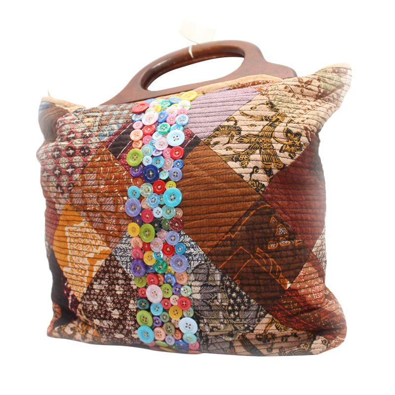 Smesco Trade Batik Kombinasi Kancing Cokelat Tas Tangan