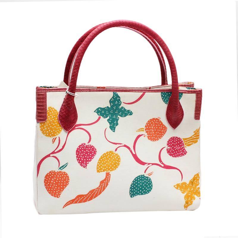 Smesco Trade Batik Kombinasi Kulit Ular Phyton Putih Tas Tangan