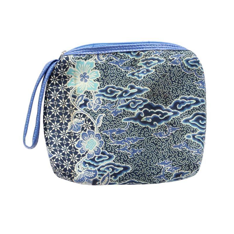 Smesco Trade Batik Motif Bunga Biru Dompet