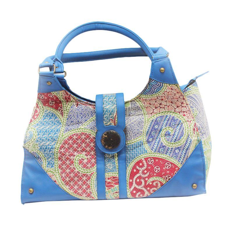 Smesco Trade Batik Parang Kulit Sintesis Biru Tas Tangan