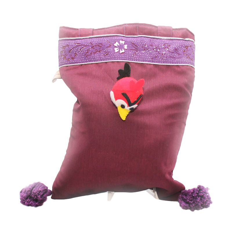 Smesco Trade Batik Polos Besar Motif Angry Bird Ungu Tas Tangan