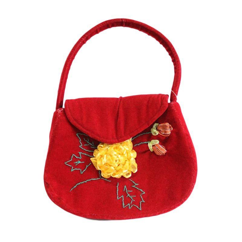 Smesco Trade Bludru Merah Tas Tangan