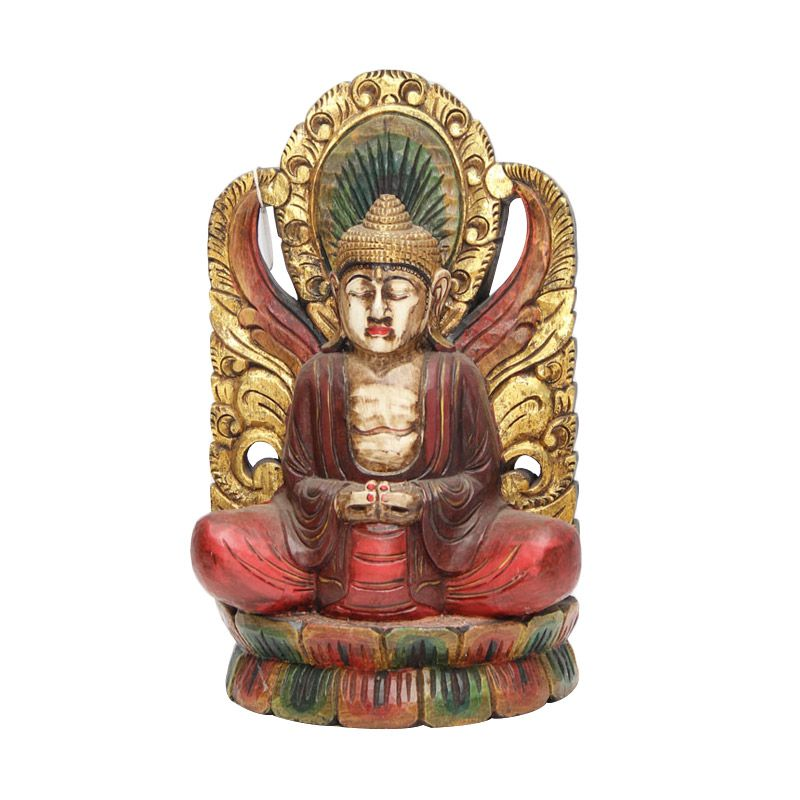 Smesco Trade Buddha Antik Merah Kombinasi Emas Patung Kayu