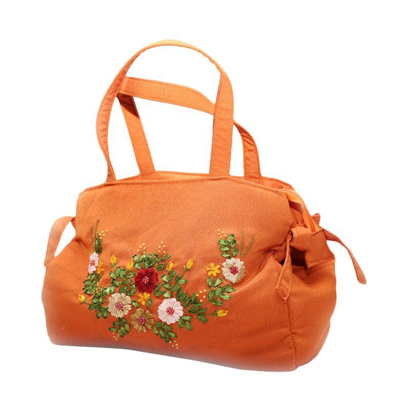 Smesco Trade Bunga Timbul Orange Tas Tangan [Besar]