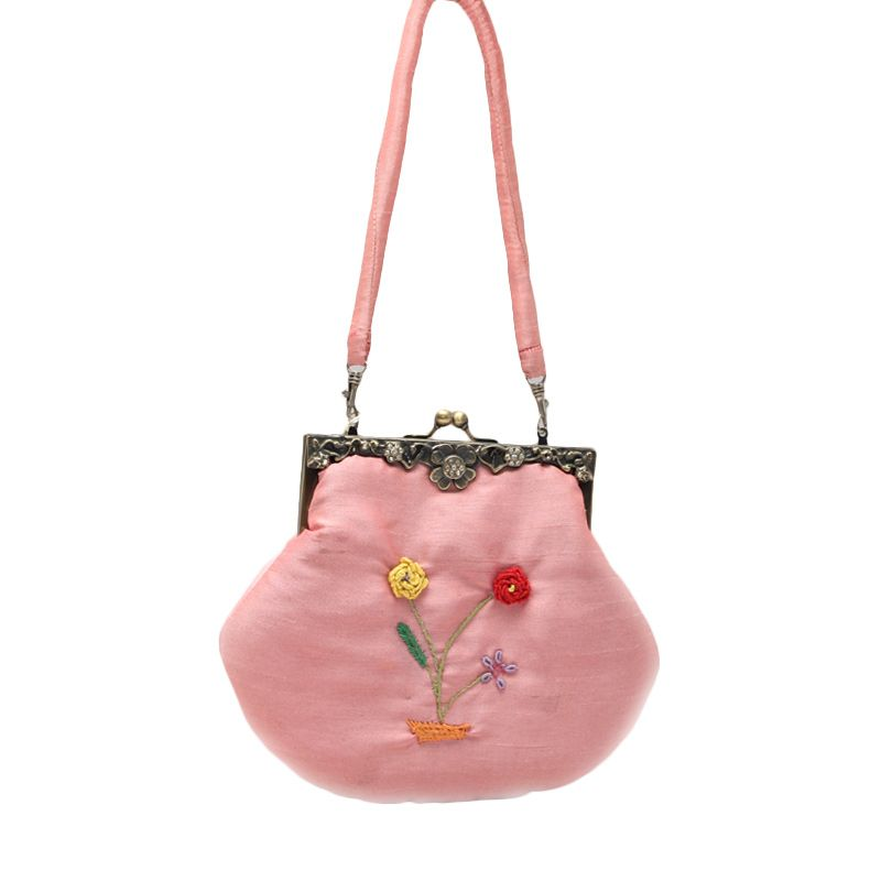 Smesco Trade Cinta Motif Sulam Bunga Pink Tas Selempang