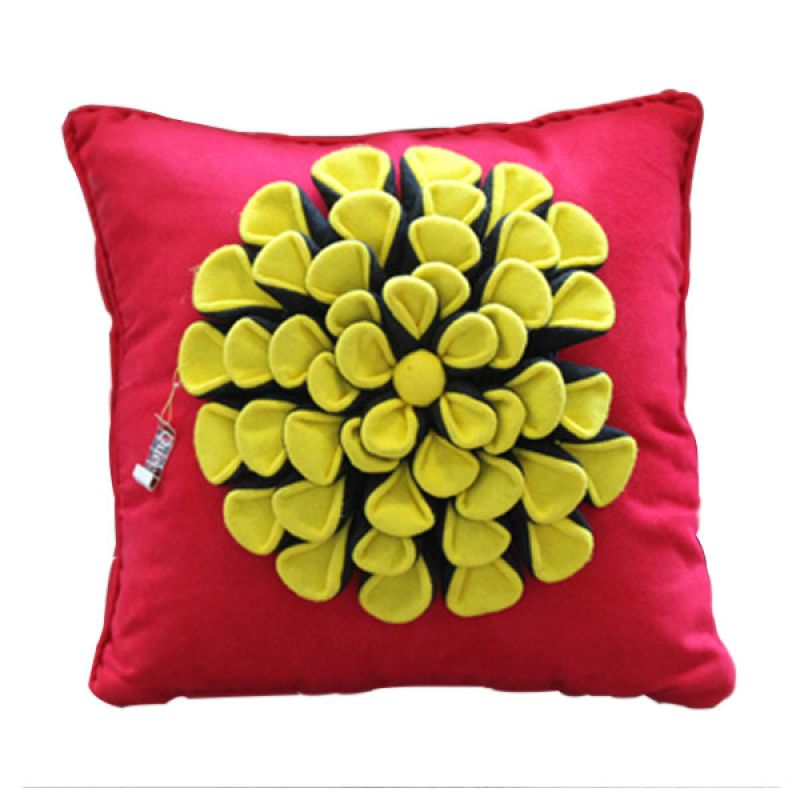 Smesco Trade Hiasan Bunga A Merah Kuning Sarung Bantal